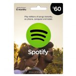 Spotify $60 Gift Card, گیفت کارت اسپاتیفای 60 دلاری, گیفت کارت اسپاتیفای نسخه آمریکا, Spotify, گیفت کارت فروشگاه اسپاتیفای, خرید اشتراک ماهانه Spotify