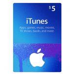 iTunes Gift Card 5$, گیفت اپل آیتونز 5 دلاری, گیفت کارت آیتونز نسخه آمریکا, iTunes 5$ Gift Card, گیفت کارت اپل استور برای خرید بازی و نرم افزار, گیفت کارت iTunes 5$ Gift Card